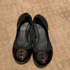 Black patent leather Tory Burch Caroline Flat